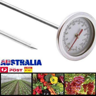 20'' 0℃-120℃ Composting Soil Thermometer Stainless Steel Metal Probe Detector AU