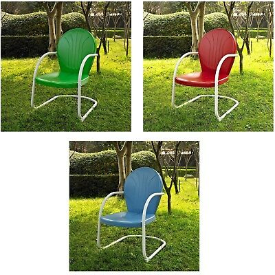 Retro Metal Patio Chair Tulip Vintage Style Outdoor Furniture Green Red or Blue