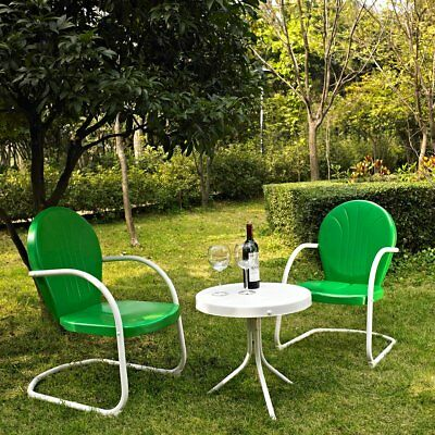 Retro Metal Patio Set Furniture Outdoor Vintage Style Pick Red Blue Green 3 Pc