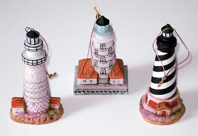 • SET OF 3 ORNAMENTS By Lefton • Three U.S. LIGHTHOUSE Replicas •