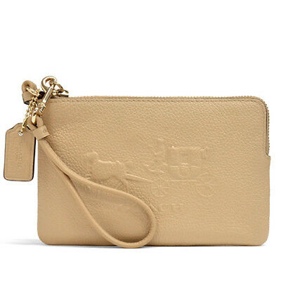 NWT NEW Authentic Coach 52500 Embossed Horse & Carriage L Zip Wristlet NUDE