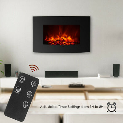 """50"""" Wall Mounted Insert Heat Electric Fireplace Black 3D Flame Logs Heater Q3V1"""