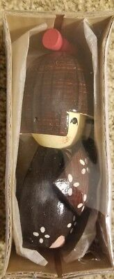 Japanese Vintage Lovely Kokeshi Ornament Doll Naruko Onsen With Stand In Pkg