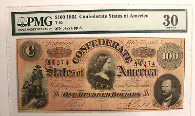 T-65 $100 1864 Confederate States of America Lucy Pickens PMG 30 VERY FINE