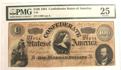 T-65 $100 1864 Confederate States of America Lucy Pickens PMG 25 VERY FINE