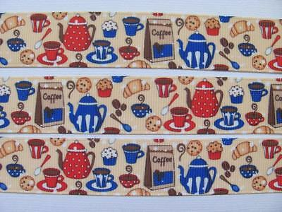"BB Ribbon AFTERNOON TEA  1m grosgrain 7/8"" 22mm COFFEE COOKING KITCHEN"