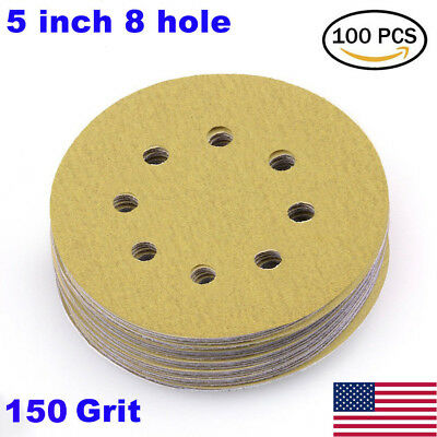 "100x 5"" 150 Grit Sanding Disc Orbital Sand paper Sander Sheet Dustless Hook Loop"