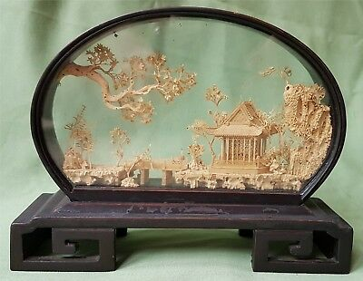Finely made antique Chinese Wood or Cork Landscape in glazed case