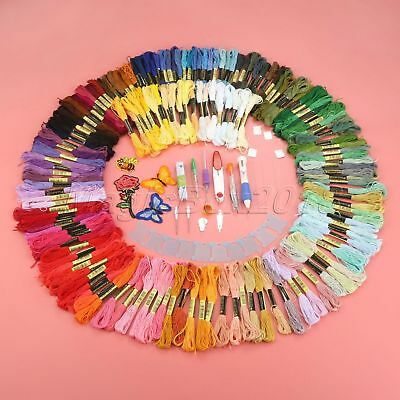 Embroidery Patterns 150pcs Threads Pen Punch Needles 4 Appliques Set Sewing Tool