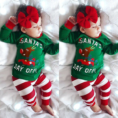 US Kids Baby Girl Boy Xmas Deer Car Tops Pants Headband Outfit Nightwear Pajamas