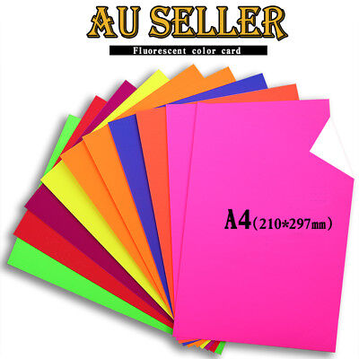 10 x A4 250gsm Coloured Fluorescent Paper Cardstock Neon 8 Colours Scrapbooking