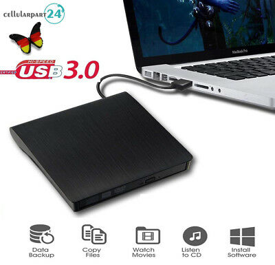 DVD-RW DVD/CD Brenner USB 3,0 Slim DVD Combo 9,5mm extern Laufwerk PC Laptop