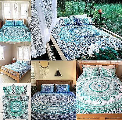 Indian Ombre Mandala Printed Cotton Twin Duvet Cover Quilt & 1 PC Pillow Cover