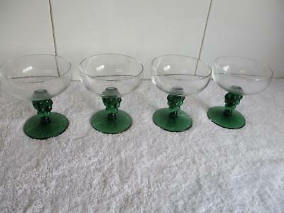 4 Vintage Hand Blown Emerald Green & Clear Grape Stem Champagne Glasses Excl