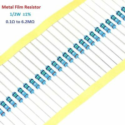 100pcs Metal Film Resistor 1/2W 0.5W 1% Tolerance 0.1 Ohm to 6.2M Ohm