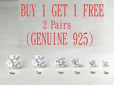 .925 Sterling Silver Round Cut Clear Cubic Zirconia Stud Earrings