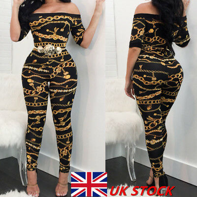 UK Women Ladies Chain Print Off Shoulder Bodycon Long Jumpsuit&Rompers Clubwear