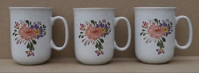 Immaculate Denby Summer Fields  Summerfields Coffee Mugs X 3 Straight Sided