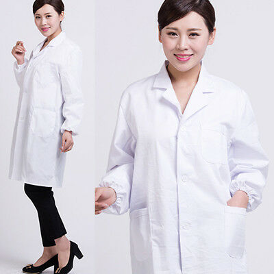 Men Women Medical Nurse Doctor White Unisex Long Lab Coat M-3XL Lab Uniform Tops
