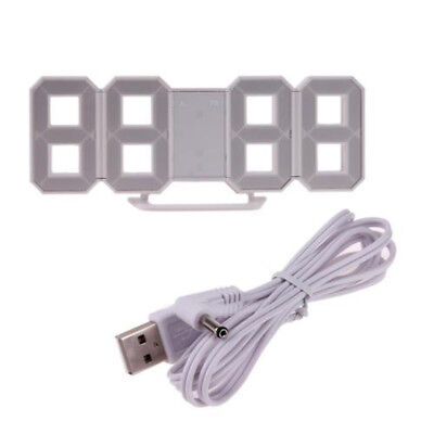 Table Clock Desk 24 or 12 Hour Display White With USB Power Cable Digital LED