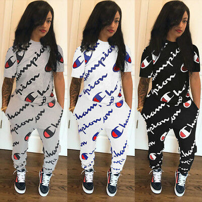 Women Tracksuits Sets Letter Print Stitching Two-Piece Sportswear Jumpsuits Top