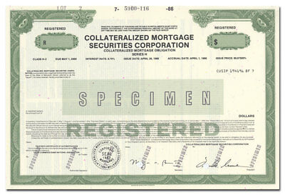Collateralized Mortgage Securities Corporation Specimen Stock Certificate