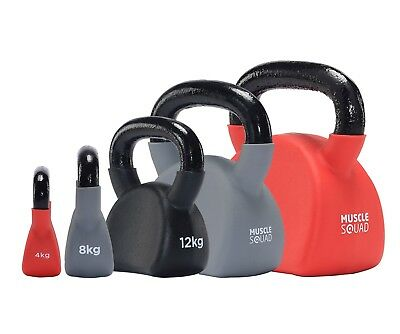 MuscleSquad Ergonomic Cast Iron Kettlebells - Soft Neoprene Finish 4kg - 24kg