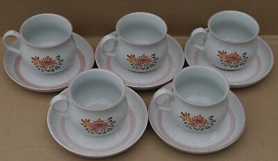 Denby  Summer Fields Summer Fields Tea Cups And Saucers X 5