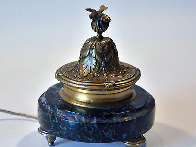 """AMAZING FRENCH BRASS and GREEN MARBLE """"BEE & FLOWER"""" ELECTRIC BELL PUSH"""