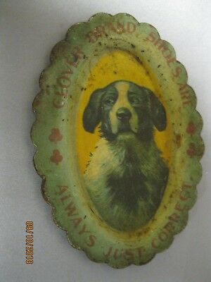 EARLY 1900's DOG PIN TRAY FOR CLOVER BRAND SHOES  ADVERTISING PIN TRAY