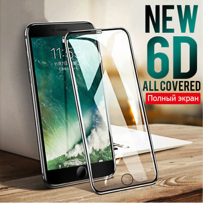 6D For iPhone 6 7 8 Plus X Full Cover Tempered Glass Screen Protector Film lot H