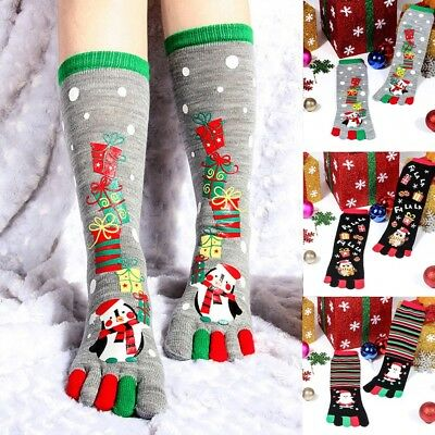 Christmas Print Multicolor Toe Socks Five Finger Socks Cotton Funny Socks NEW