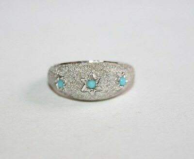 Vintage Art Deco Style Gipsy-Set Turquoise Trilogy Domed Silver Band Ring