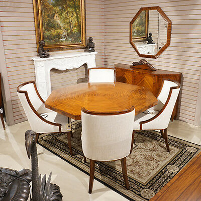 Outrageous French Rosewood Art Deco Style Dining Breakfast Table & Chairs MINT!
