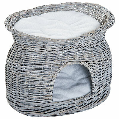 PawHut 2-Tier Elevated Pet Cushion Bed Basket Willow Cat Tree House Condo Kennel