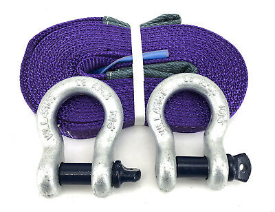 1 Tonne Tow Strap x 5 Metres With 4.75 Tonne Shackles, Recovery Strap, 1000kg