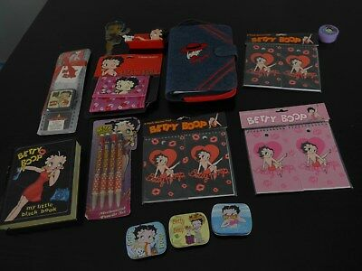 NEW LOT of  BETTY BOOP TINS PENS PADS ORGANIZER CARD HOLDER WALLET