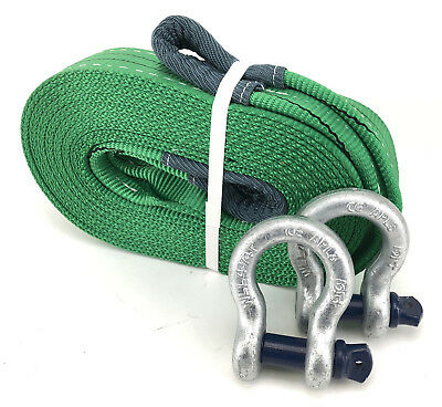 2 Tonne Tow Strap x 8 Metres With 4.75 Tonne Shackles, Recovery Strap, 2000kg
