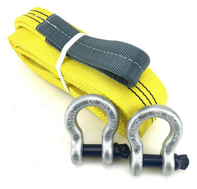 3 Tonne Tow Strap x 3 Metres With 4.75 Tonne Shackles, Recovery Strap, 3000kg