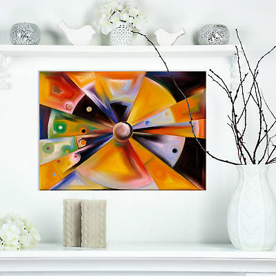 Contemporary 'Circular Stained Glass Design' Graphic Art Print on Wrapped Canvas