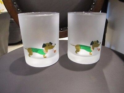 2 Dachshund Dog Holiday Christmas Double Frosted Drinking Glasses NEW