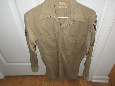 Original WWII US ARMY AIR FORCE USAAF 4th AF CORPORAL TWILL SHIRT NO HOLES