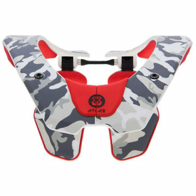 2019 Atlas Air Neck Brace Motocross Mx Adult - White Red Tundra Enduro New