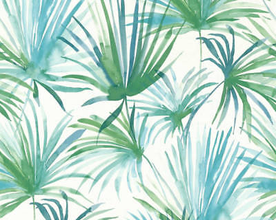 Pastel Green Turquoise Palm Leaf Trail Watercolour Wallpaper