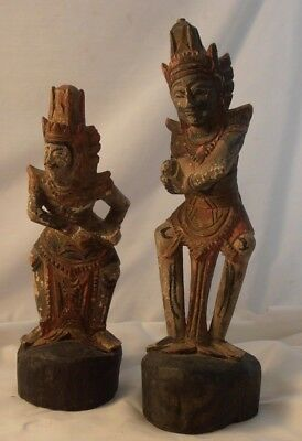 Carved Wood Thai / Indian Deity Figures Dancing Original Paint Woodware