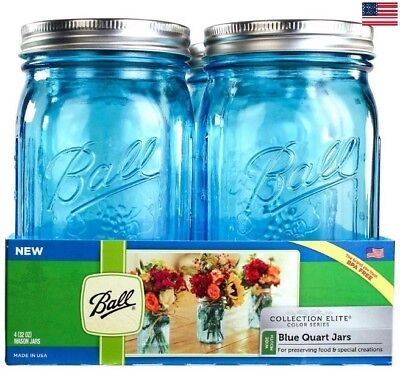 Ball Wide Mouth Canning Mason Jars Quart Collection Elite Blue Glass 32Oz 4-Pack