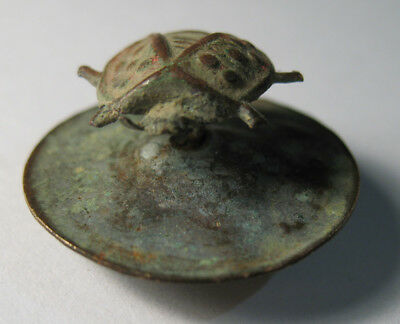 Ancient Rare brass realistic executed cufflink in the shape of ladybug
