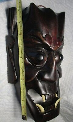 Chinese BLACK DEVIL MASK with HORNS & TEETH hard dark wood face Asian halloween
