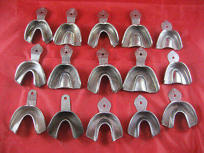 Lot of Stainless Steel Impression Trays, Various Brands & Sizes
