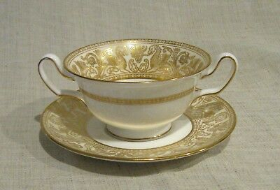 Wedgwood Florentine Gold Cream Soup Bowl and Saucer # W4220